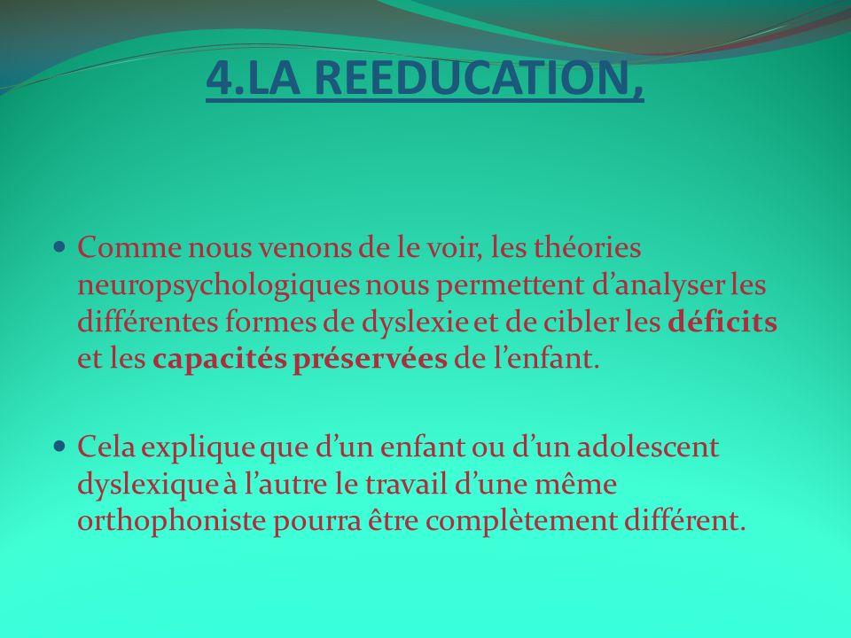 4.LA REEDUCATION, Comme nous venons de le voir, les théories neuropsychologiques nous permettent danalyser les différentes formes de dyslexie et de ci