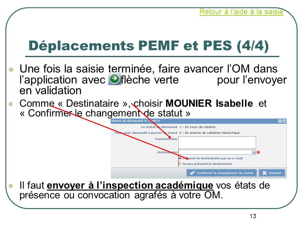 13 Déplacements PEMF et PES (4/4) Une fois la saisie terminée, faire avancer lOM dans lapplication avec la flèche verte pour lenvoyer en validation Co