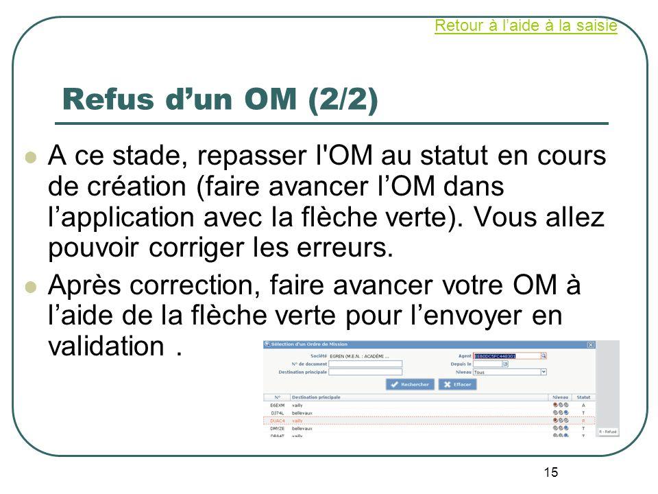 15 Refus dun OM (2/2) A ce stade, repasser l'OM au statut en cours de création (faire avancer lOM dans lapplication avec la flèche verte). Vous allez