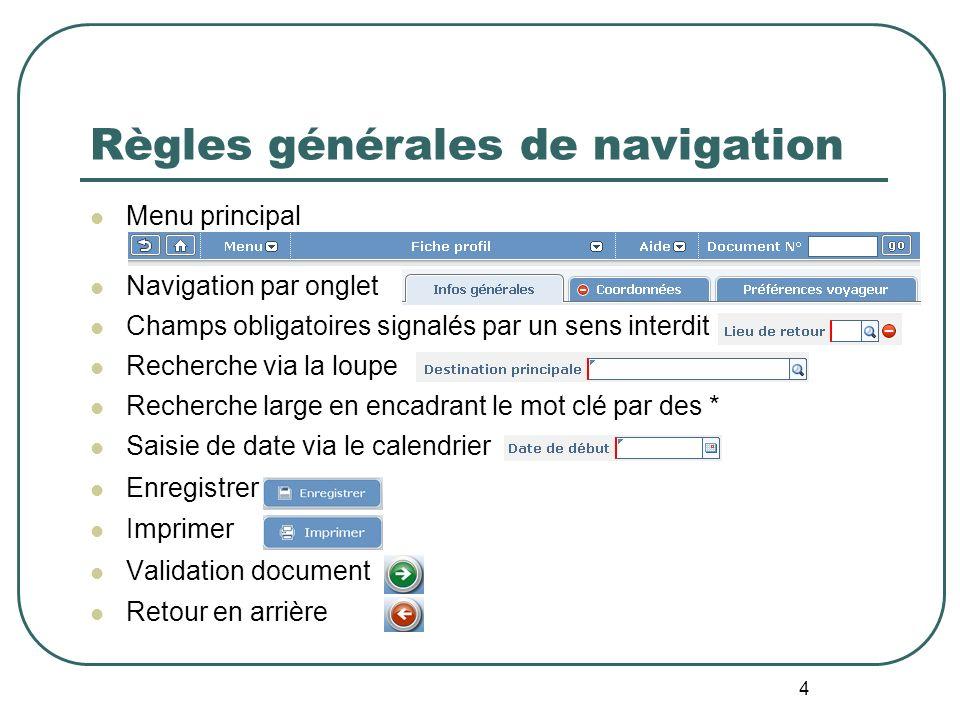 4 Règles générales de navigation Menu principal Navigation par onglet Champs obligatoires signalés par un sens interdit Recherche via la loupe Recherc
