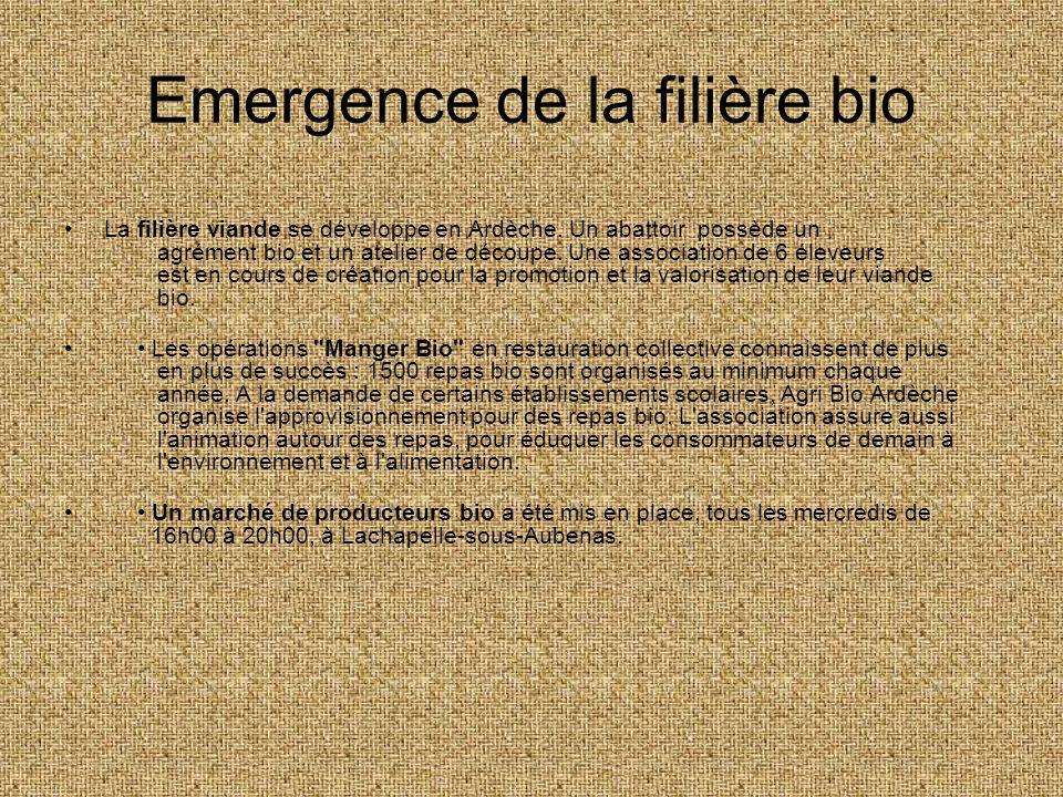 Emergence de la filière bio La filière viande se développe en Ardèche. Un abattoir possède un agrément bio et un atelier de découpe. Une association d