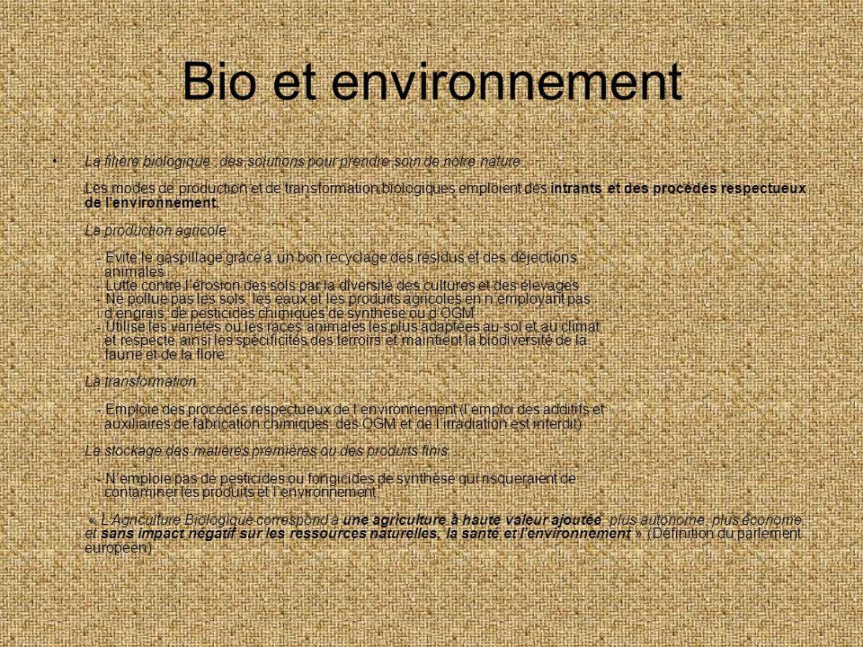 Bio et environnement La filière biologique : des solutions pour prendre soin de notre nature Les modes de production et de transformation biologiques