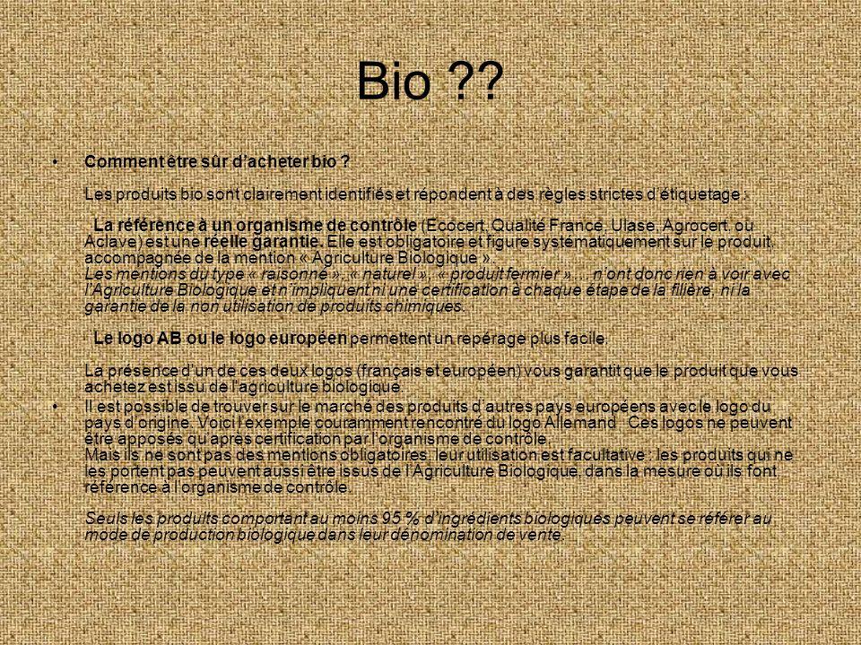 Bio ?? Comment être sûr dacheter bio ? Les produits bio sont clairement identifiés et répondent à des règles strictes détiquetage : La référence à un