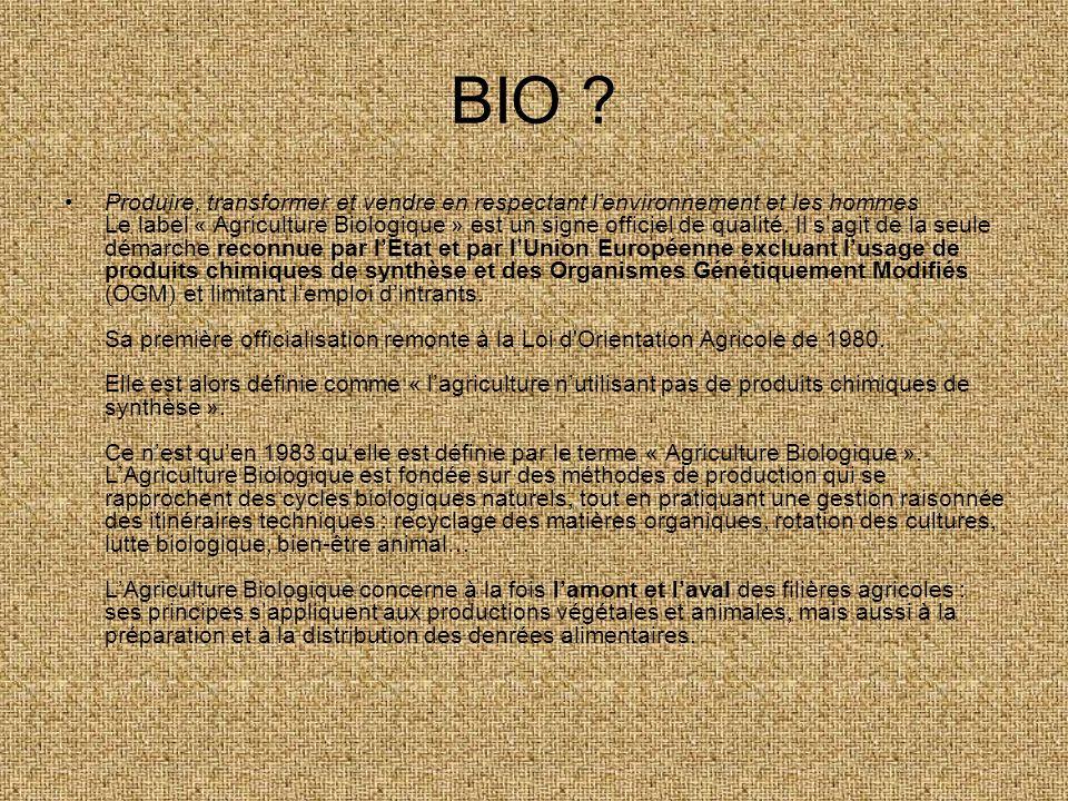BIO ? Produire, transformer et vendre en respectant lenvironnement et les hommes Le label « Agriculture Biologique » est un signe officiel de qualité.