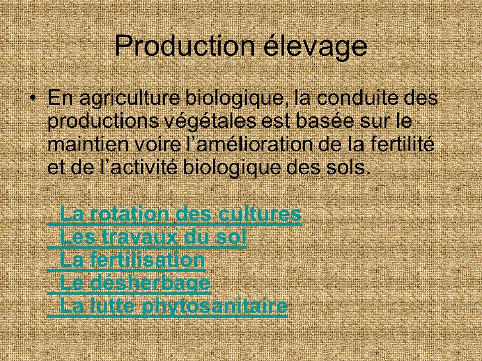 Production élevage En agriculture biologique, la conduite des productions végétales est basée sur le maintien voire lamélioration de la fertilité et d