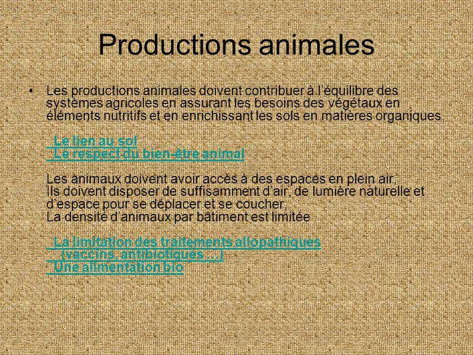 Productions animales Les productions animales doivent contribuer à léquilibre des systèmes agricoles en assurant les besoins des végétaux en éléments
