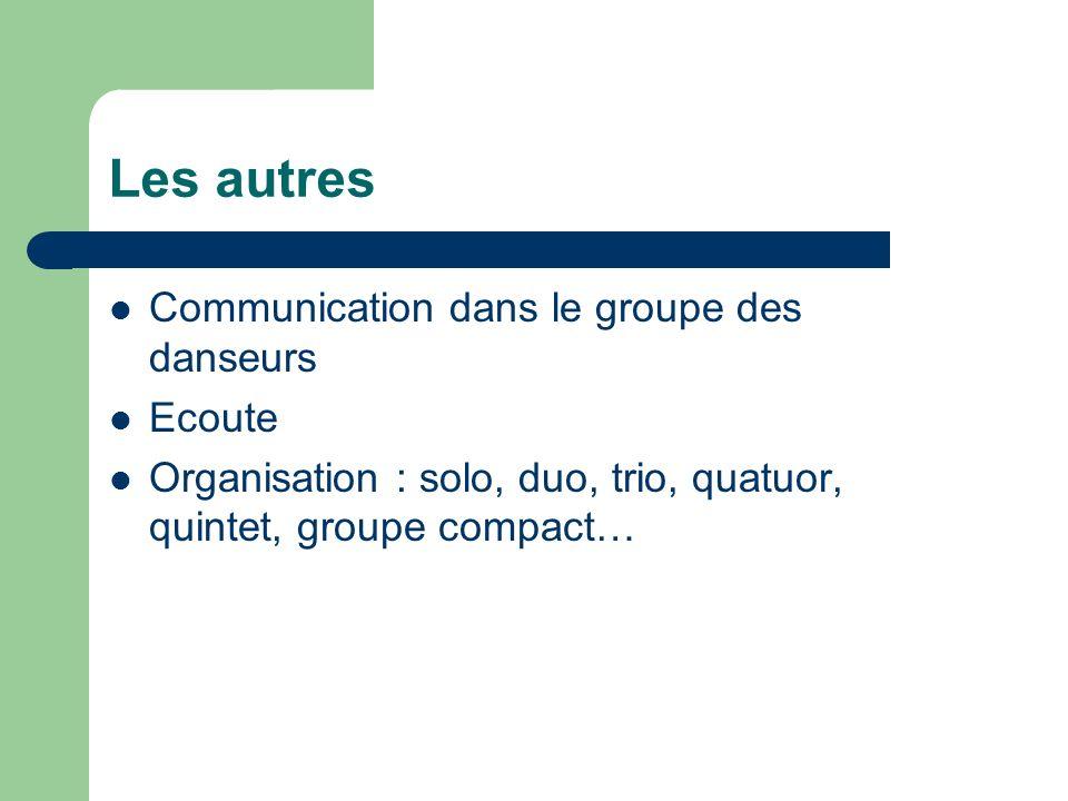 Les autres Communication dans le groupe des danseurs Ecoute Organisation : solo, duo, trio, quatuor, quintet, groupe compact…
