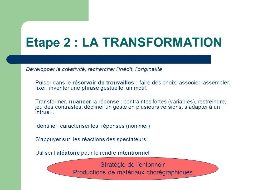 Etape 2 : LA TRANSFORMATION Développer la créativité, rechercher linédit, loriginalité Puiser dans le réservoir de trouvailles : faire des choix, associer, assembler, fixer, inventer une phrase gestuelle, un motif.