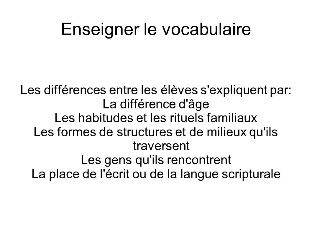 Enseigner le vocabulaire Les différences entre les élèves s'expliquent par: La différence d'âge Les habitudes et les rituels familiaux Les formes de s