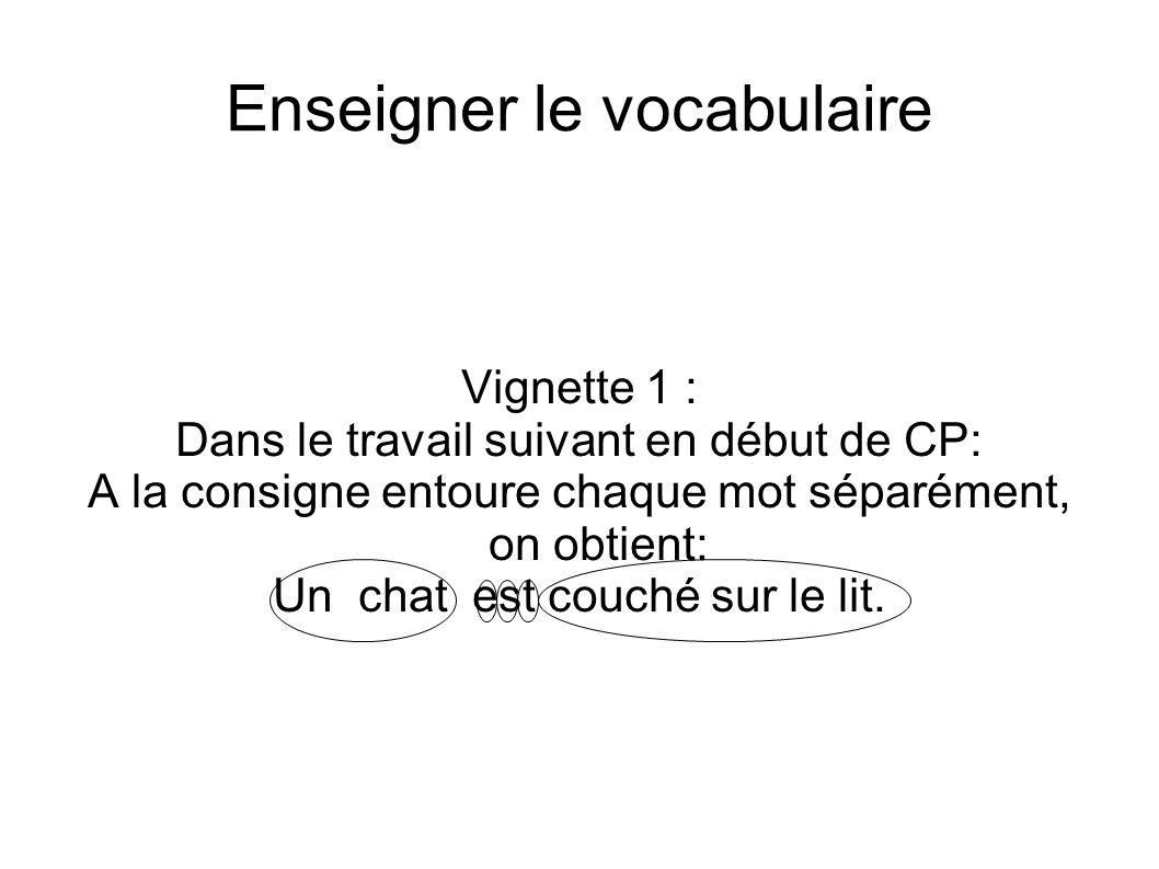 Enseigner le vocabulaire Vignette 1 : Dans le travail suivant en début de CP: A la consigne entoure chaque mot séparément, on obtient: Un chat est cou