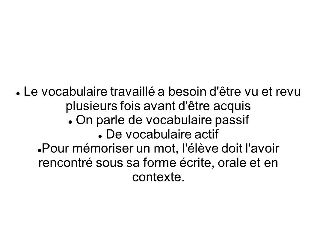 Le vocabulaire travaillé a besoin d'être vu et revu plusieurs fois avant d'être acquis On parle de vocabulaire passif De vocabulaire actif Pour mémori