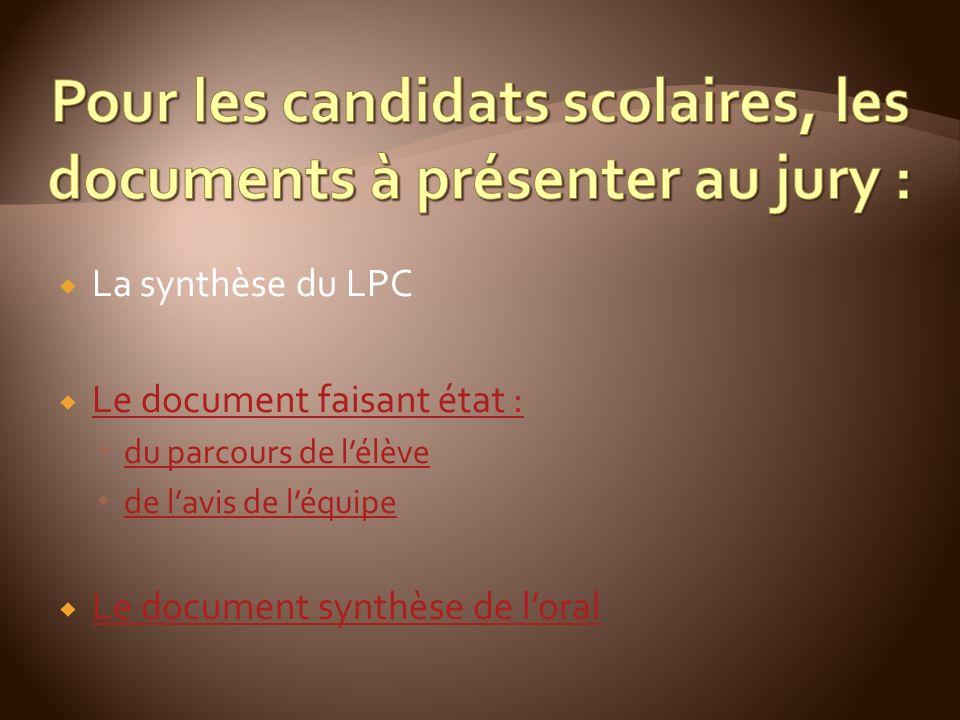 La synthèse du LPC Le document faisant état : du parcours de lélève de lavis de léquipe Le document synthèse de loral