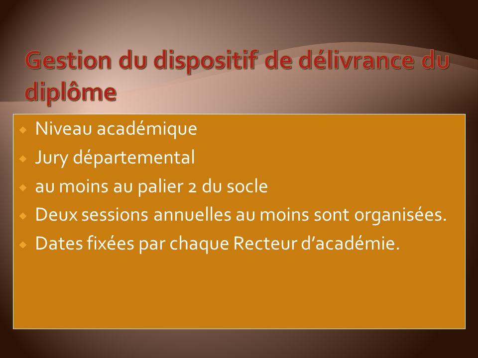 Niveau académique Jury départemental au moins au palier 2 du socle Deux sessions annuelles au moins sont organisées.