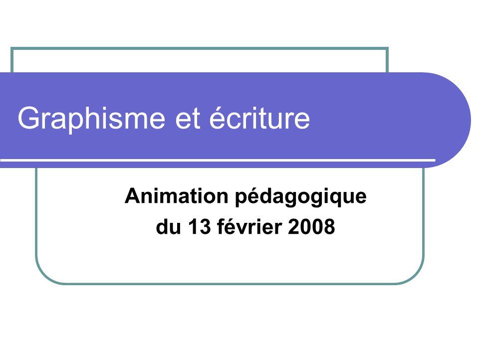 Graphisme et écriture Animation pédagogique du 13 février 2008