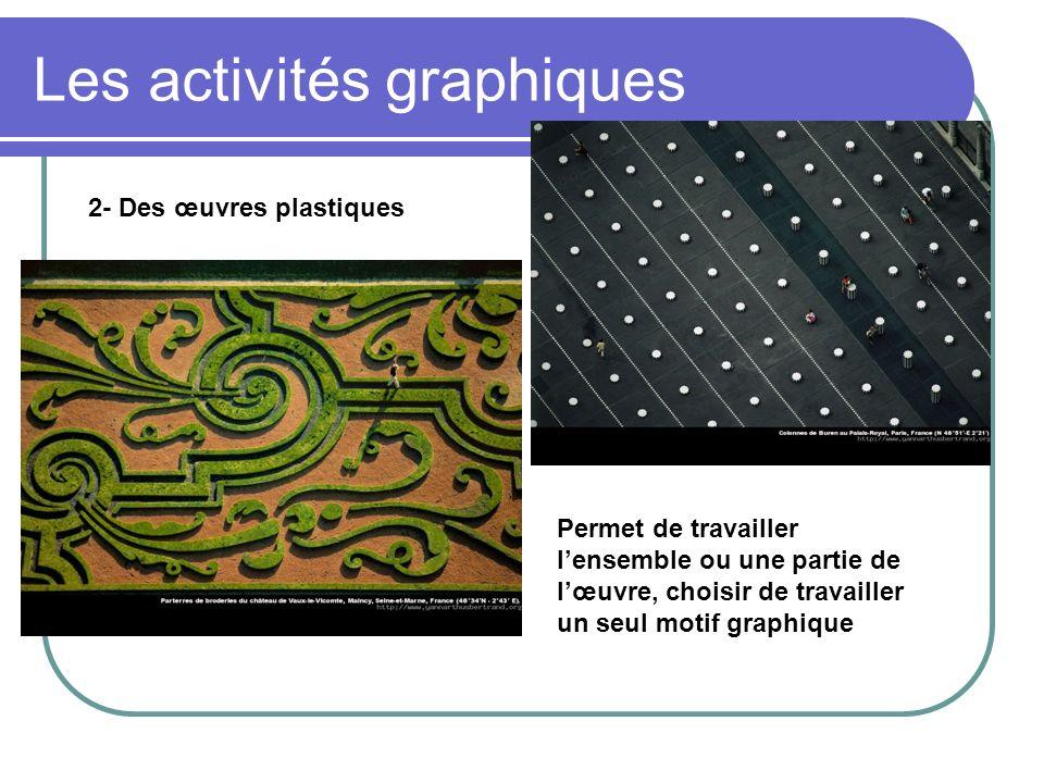 Les activités graphiques 2- Des œuvres plastiques Permet de travailler lensemble ou une partie de lœuvre, choisir de travailler un seul motif graphiqu