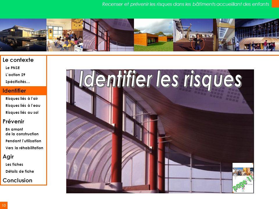 10 Recenser et prévenir les risques dans les bâtiments accueillant des enfants Le contexte Le PNSE Laction 29 Spécificités… Identifier Risques liés à