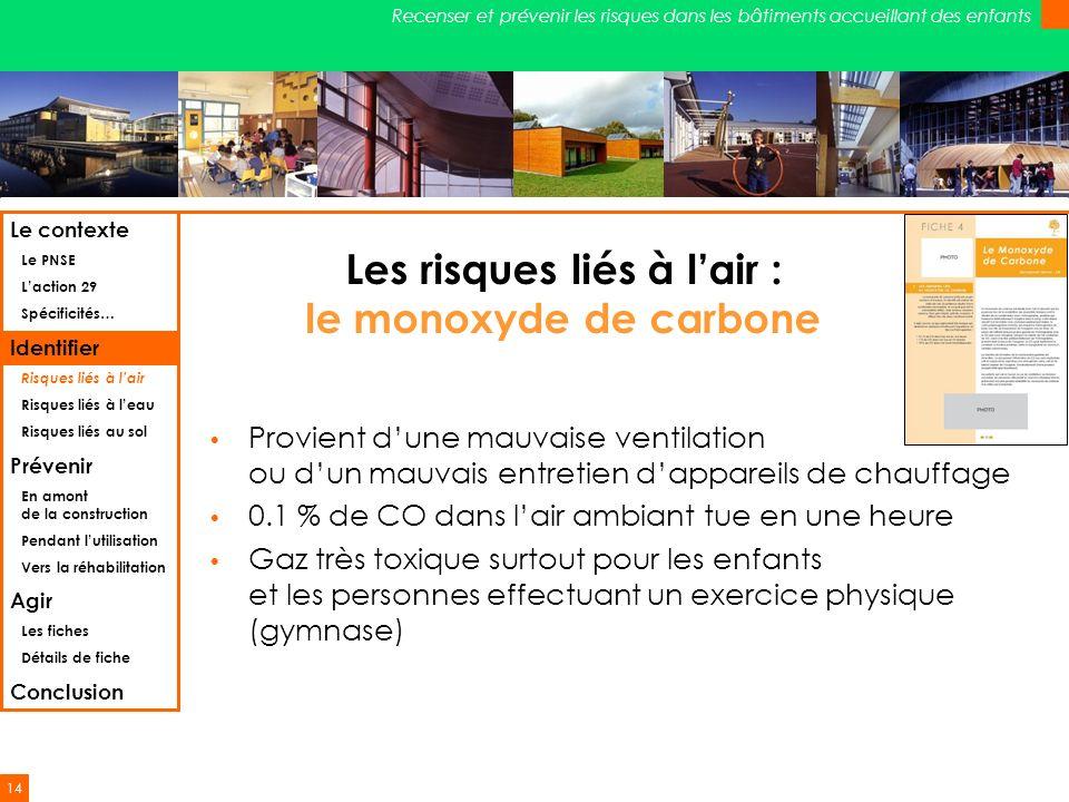 14 Recenser et prévenir les risques dans les bâtiments accueillant des enfants Les risques liés à lair : le monoxyde de carbone Provient dune mauvaise