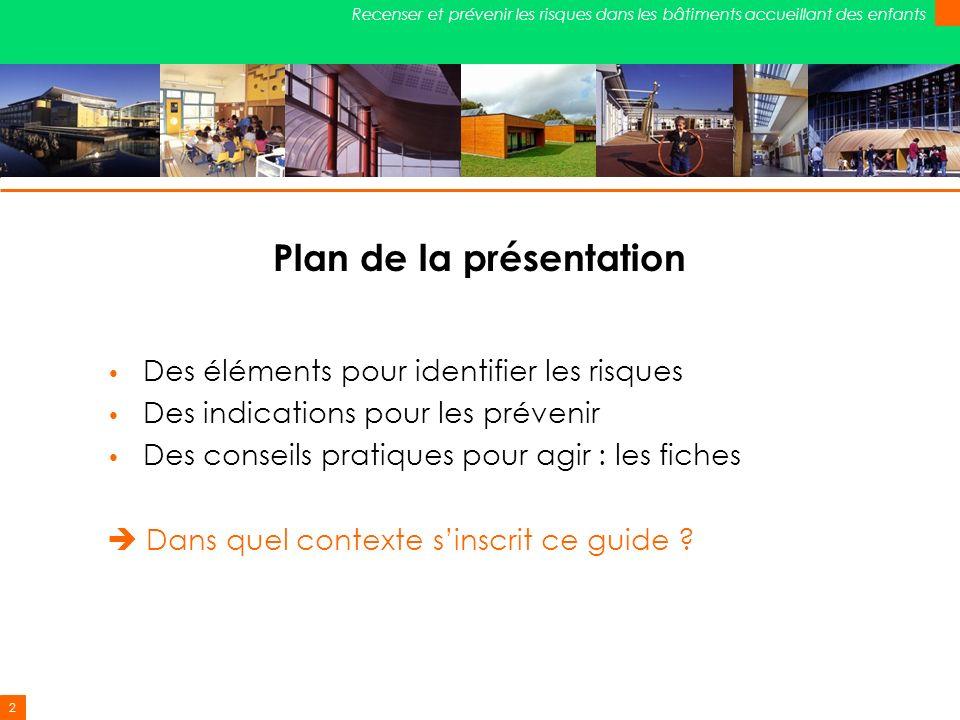 2 Recenser et prévenir les risques dans les bâtiments accueillant des enfants Plan de la présentation Des éléments pour identifier les risques Des ind