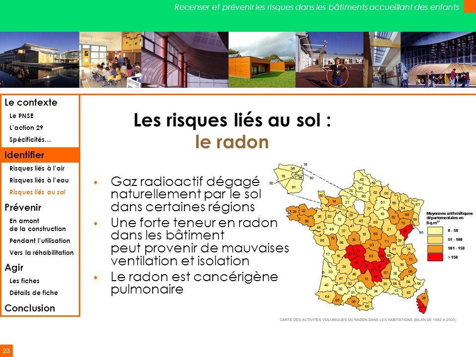 23 Recenser et prévenir les risques dans les bâtiments accueillant des enfants Les risques liés au sol : le radon Gaz radioactif dégagé naturellement
