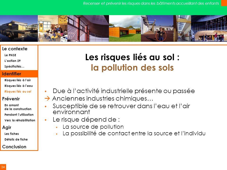 24 Recenser et prévenir les risques dans les bâtiments accueillant des enfants Les risques liés au sol : la pollution des sols Due à lactivité industr