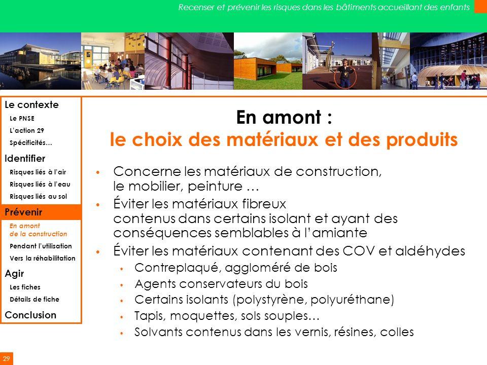 29 Recenser et prévenir les risques dans les bâtiments accueillant des enfants En amont : le choix des matériaux et des produits Concerne les matériau