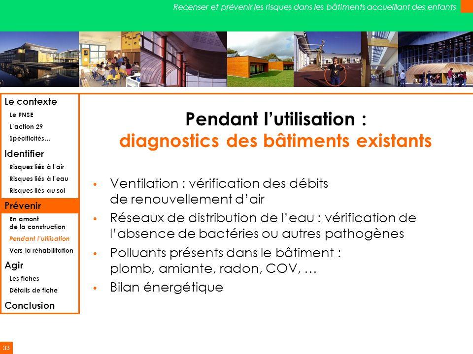 33 Recenser et prévenir les risques dans les bâtiments accueillant des enfants Pendant lutilisation : diagnostics des bâtiments existants Ventilation