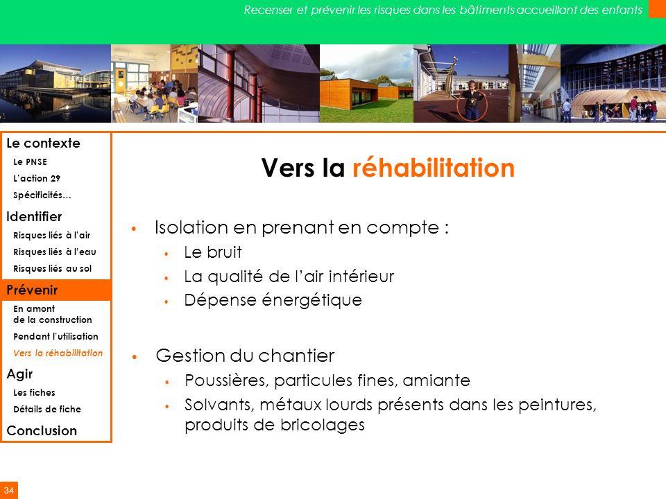 34 Recenser et prévenir les risques dans les bâtiments accueillant des enfants Vers la réhabilitation Isolation en prenant en compte : Le bruit La qua