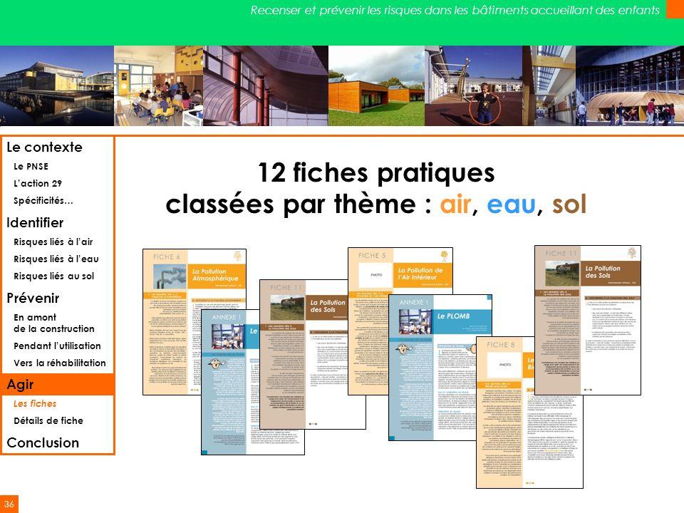 36 Recenser et prévenir les risques dans les bâtiments accueillant des enfants 12 fiches pratiques classées par thème : air, eau, sol Le contexte Le P