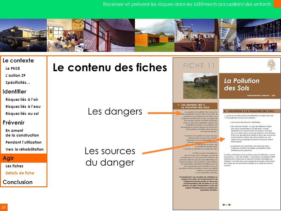 37 Recenser et prévenir les risques dans les bâtiments accueillant des enfants Le contenu des fiches Les dangers Les sources du danger Le contexte Le