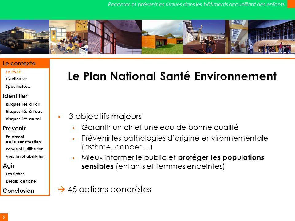 5 Recenser et prévenir les risques dans les bâtiments accueillant des enfants Le Plan National Santé Environnement 3 objectifs majeurs Garantir un air