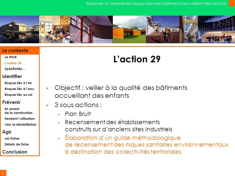 6 Recenser et prévenir les risques dans les bâtiments accueillant des enfants Laction 29 Objectif : veiller à la qualité des bâtiments accueillant des