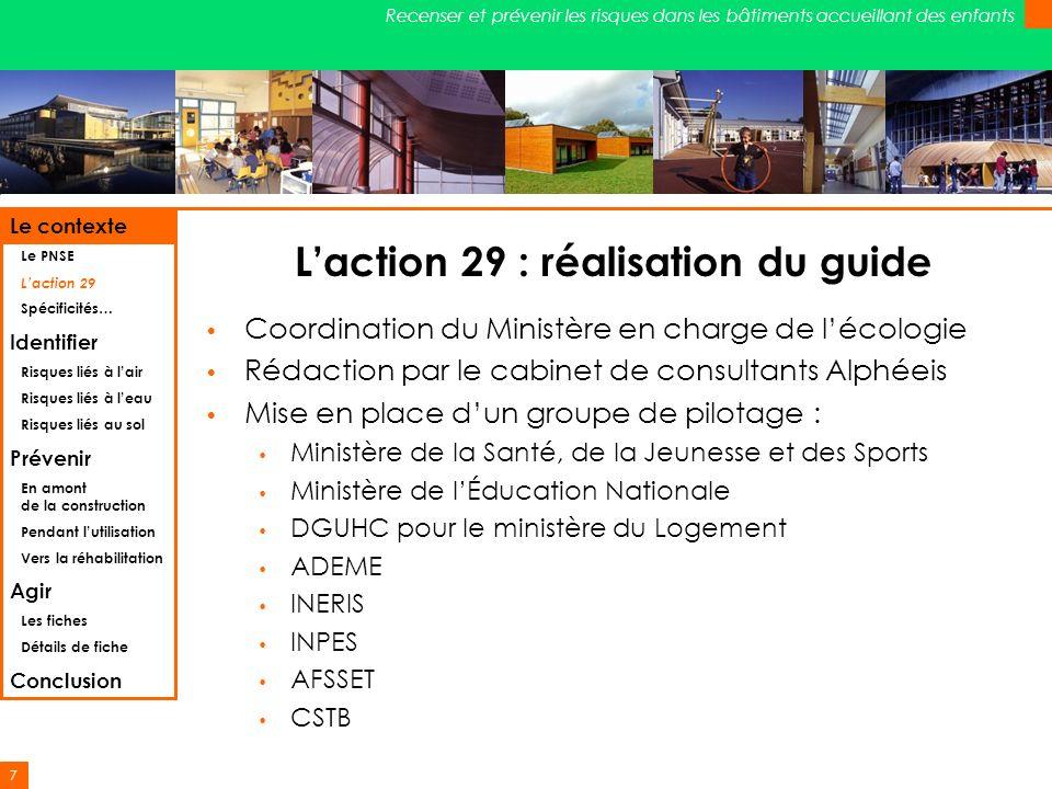 7 Recenser et prévenir les risques dans les bâtiments accueillant des enfants Laction 29 : réalisation du guide Coordination du Ministère en charge de