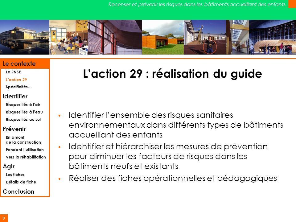 8 Recenser et prévenir les risques dans les bâtiments accueillant des enfants Laction 29 : réalisation du guide Identifier lensemble des risques sanit