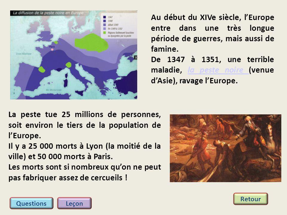 Au début du XIVe siècle, lEurope entre dans une très longue période de guerres, mais aussi de famine. De 1347 à 1351, une terrible maladie, la peste n