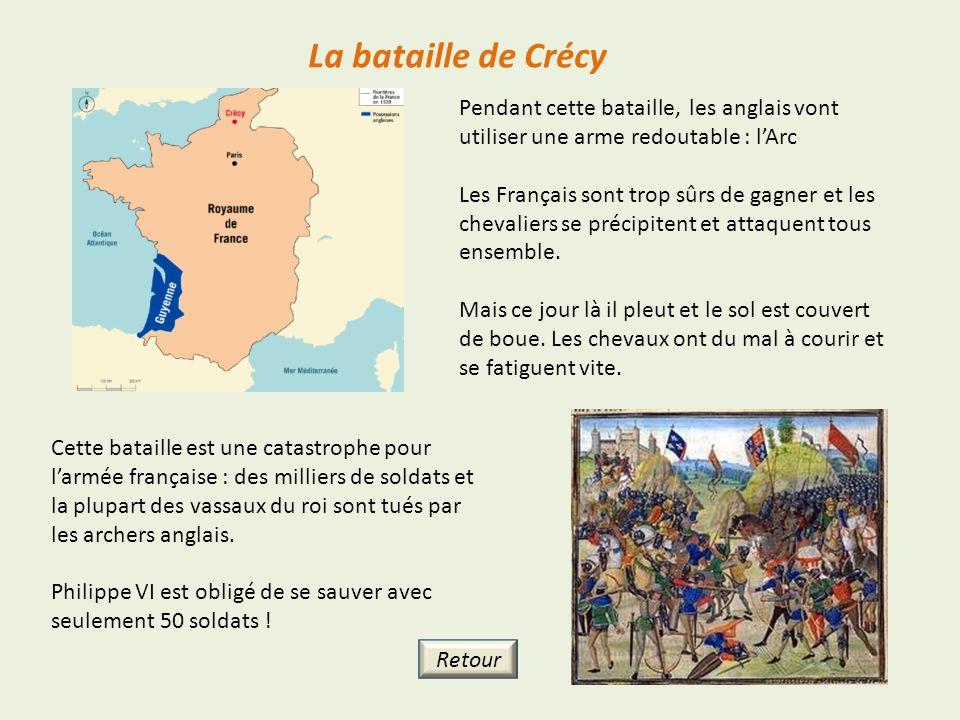 La bataille de Crécy Pendant cette bataille, les anglais vont utiliser une arme redoutable : lArc Les Français sont trop sûrs de gagner et les chevali