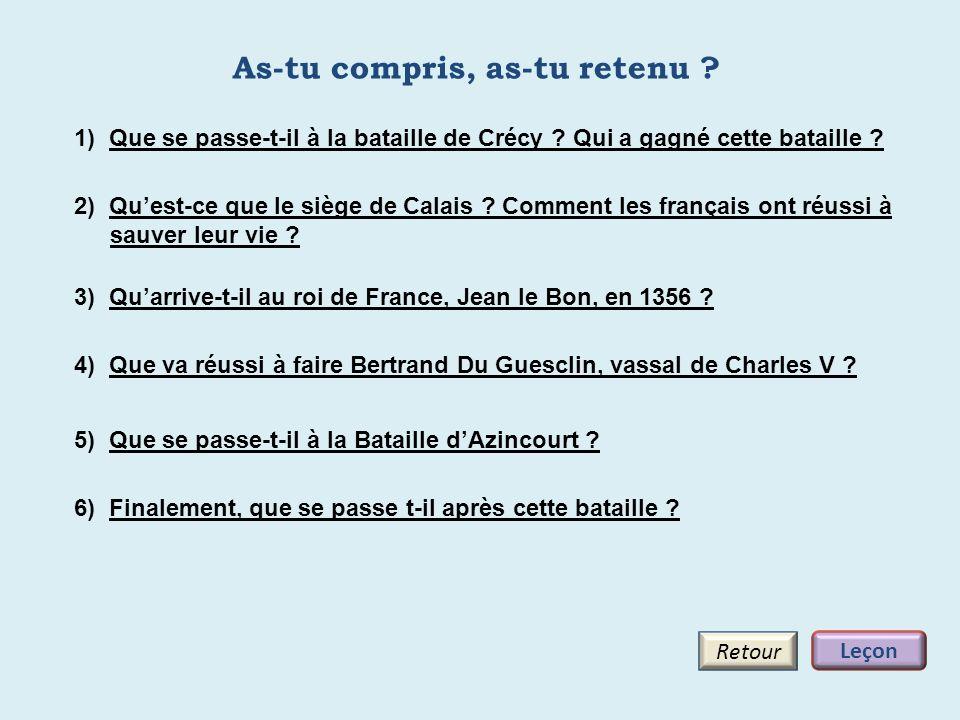 As-tu compris, as-tu retenu ? Retour 3) Quarrive-t-il au roi de France, Jean le Bon, en 1356 ? 1) Que se passe-t-il à la bataille de Crécy ? Qui a gag