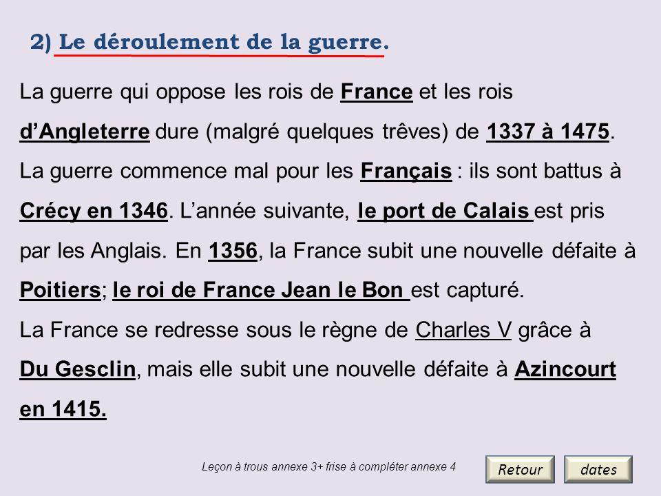 2) Le déroulement de la guerre. Retourdates La guerre qui oppose les rois de France et les rois dAngleterre dure (malgré quelques trêves) de 1337 à 14