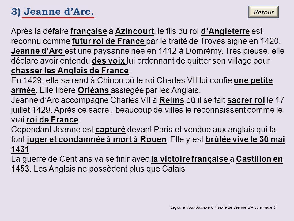 3) Jeanne dArc. Leçon à trous Annexe 6 + texte de Jeanne dArc, annexe 5 Retour Après la défaire française à Azincourt, le fils du roi dAngleterre est