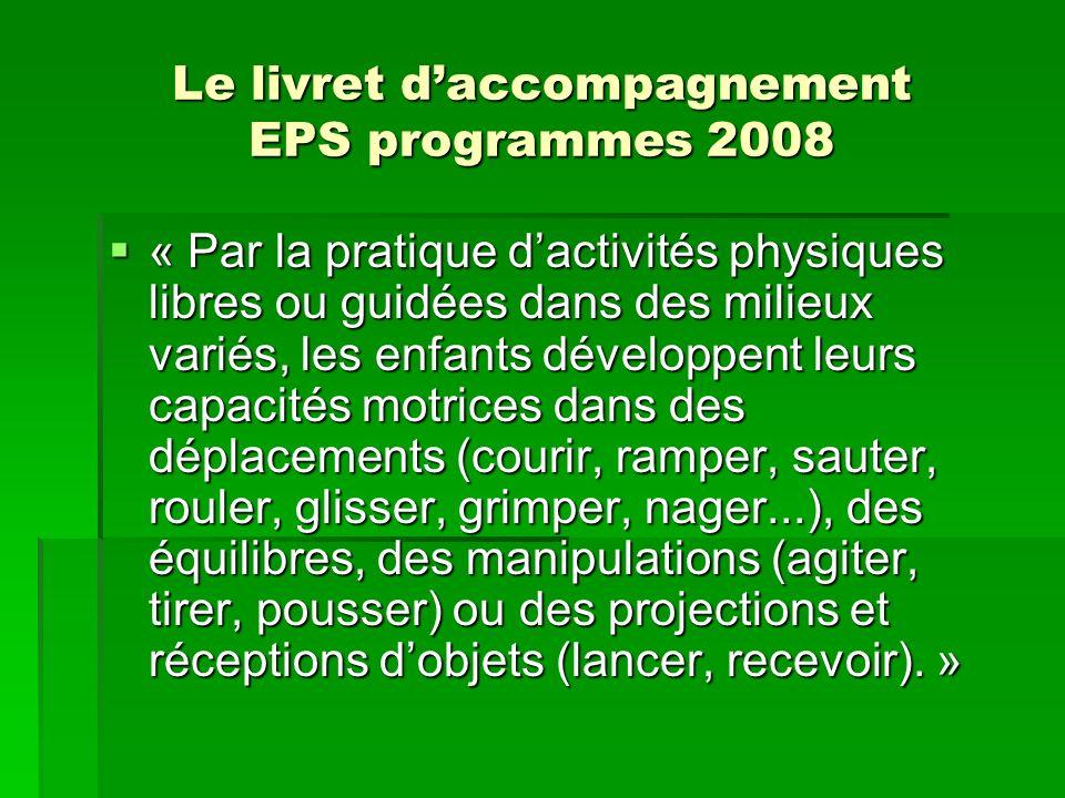 Le livret daccompagnement EPS programmes 2008 « Par la pratique dactivités physiques libres ou guidées dans des milieux variés, les enfants développen