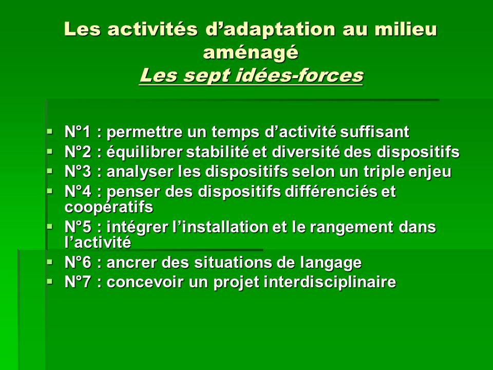 Les activités dadaptation au milieu aménagé Les sept idées-forces N°1 : permettre un temps dactivité suffisant N°1 : permettre un temps dactivité suff