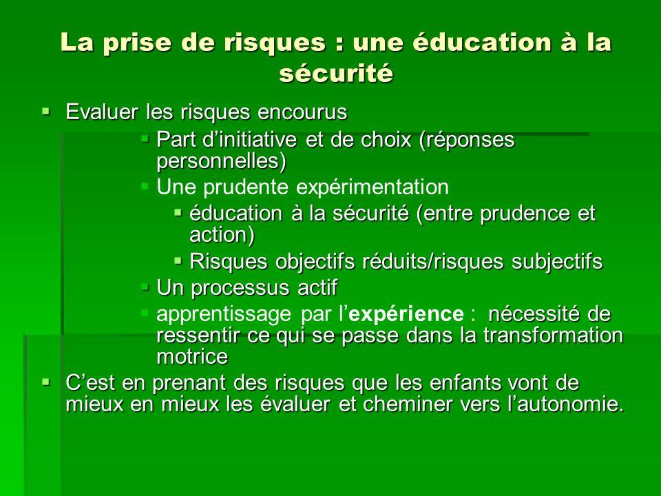 La prise de risques : une éducation à la sécurité Evaluer les risques encourus Evaluer les risques encourus Part dinitiative et de choix (réponses per
