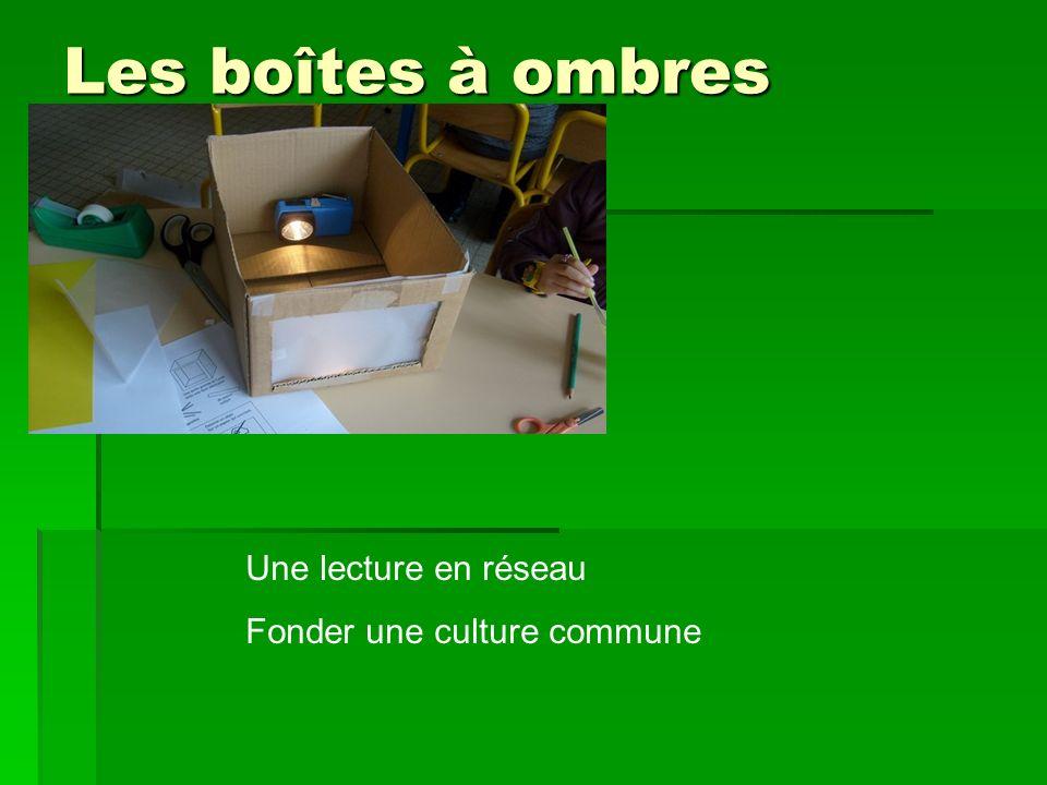 Les boîtes à ombres Une lecture en réseau Fonder une culture commune