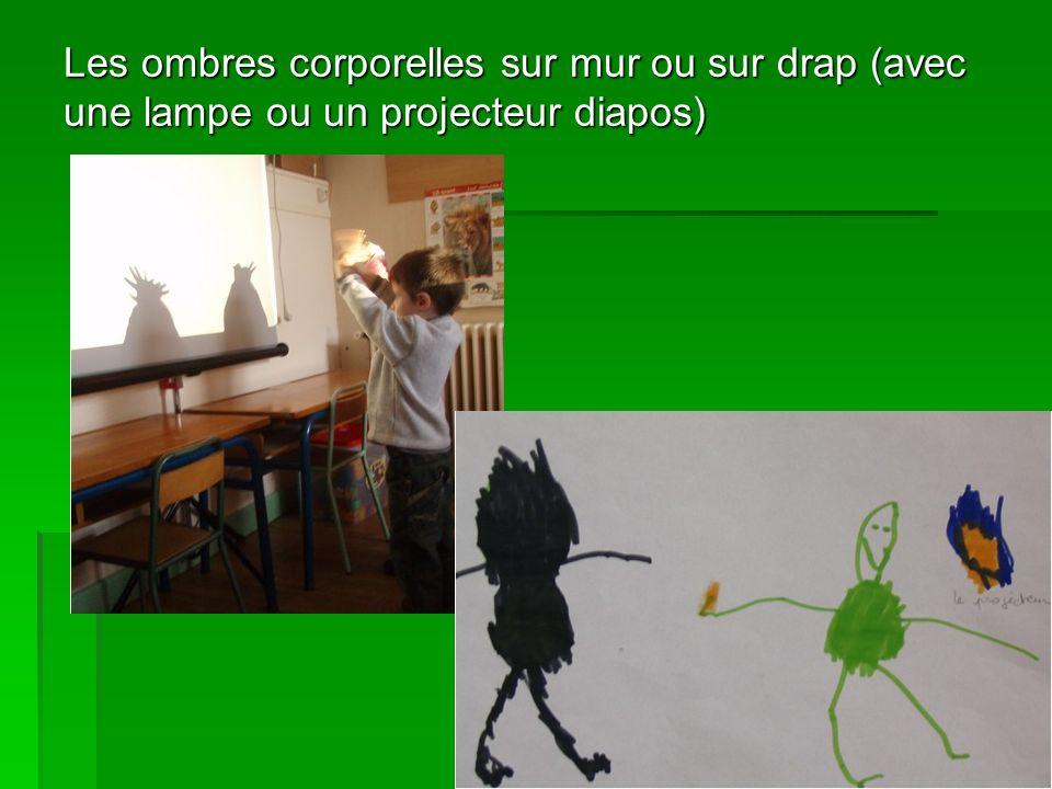 Les ombres corporelles sur mur ou sur drap (avec une lampe ou un projecteur diapos)