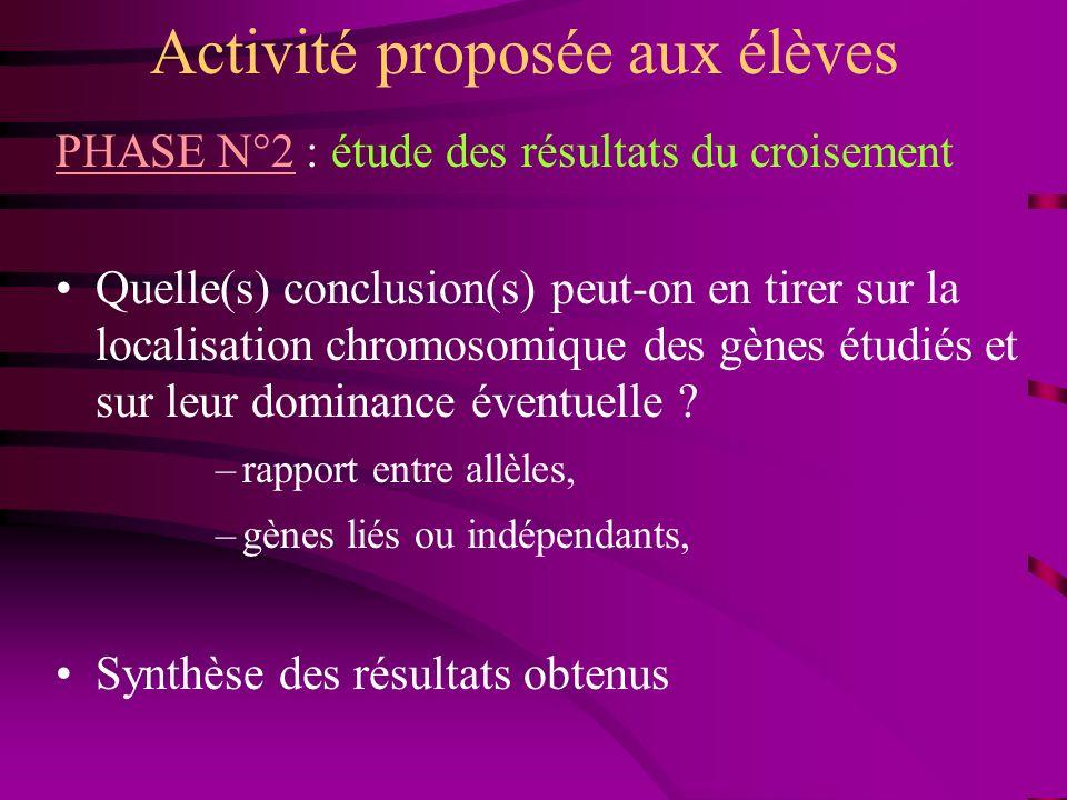 Activité proposée aux élèves PHASE N°2 : étude des résultats du croisement Quelle(s) conclusion(s) peut-on en tirer sur la localisation chromosomique