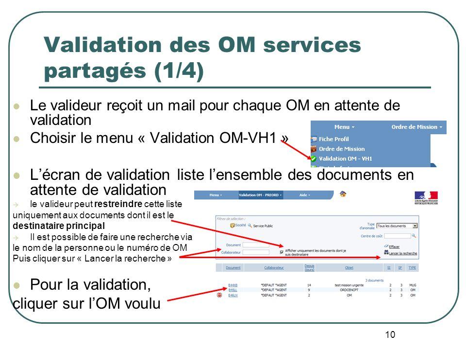 10 Validation des OM services partagés (1/4) Le valideur reçoit un mail pour chaque OM en attente de validation Choisir le menu « Validation OM-VH1 »