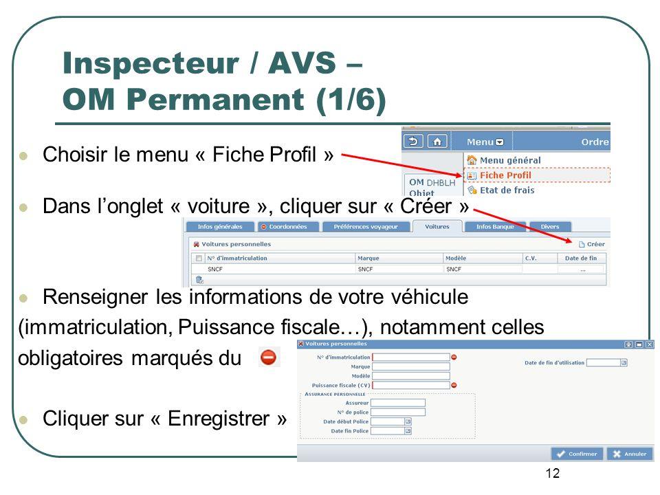 12 Inspecteur / AVS – OM Permanent (1/6) Choisir le menu « Fiche Profil » Dans longlet « voiture », cliquer sur « Créer » Renseigner les informations