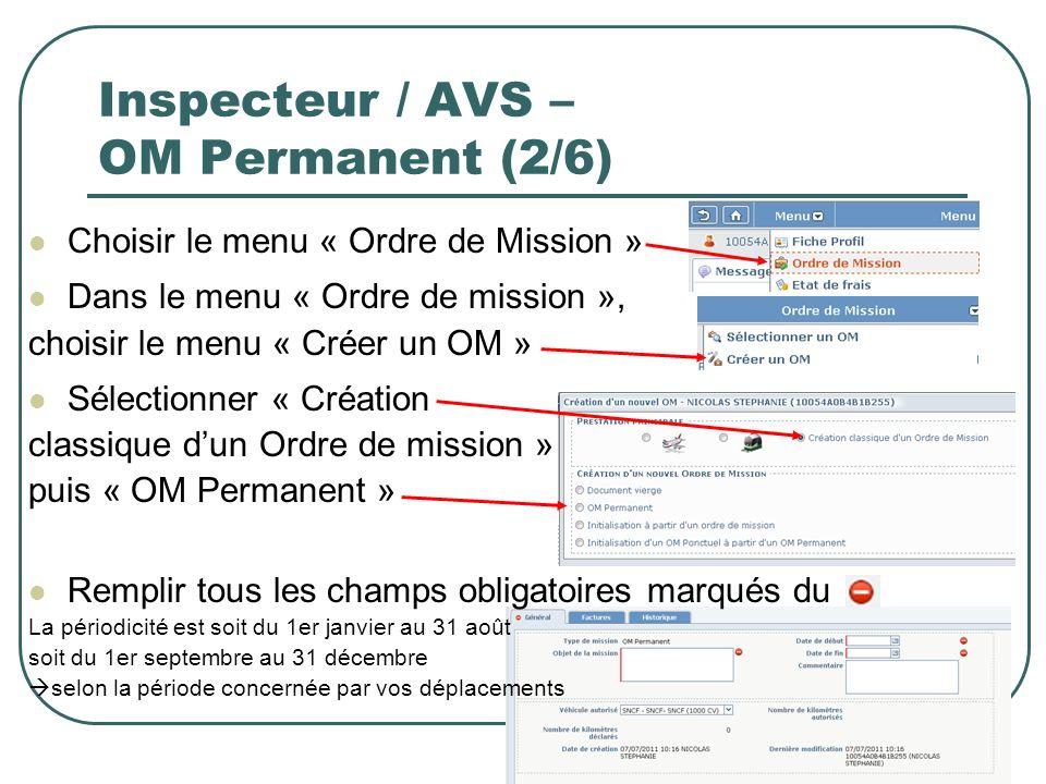 13 Inspecteur / AVS – OM Permanent (2/6) Choisir le menu « Ordre de Mission » Dans le menu « Ordre de mission », choisir le menu « Créer un OM » Sélec
