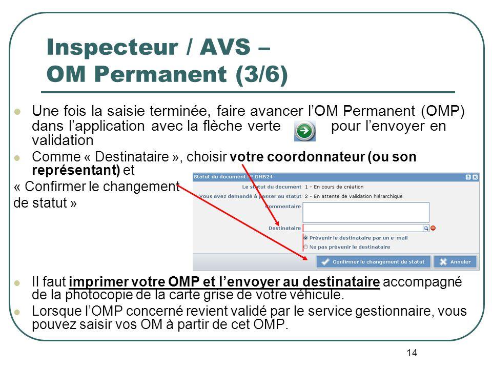 14 Inspecteur / AVS – OM Permanent (3/6) Une fois la saisie terminée, faire avancer lOM Permanent (OMP) dans lapplication avec la flèche verte pour le