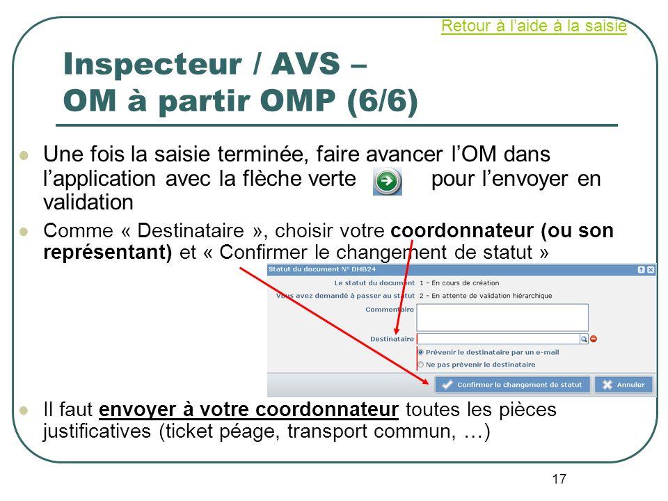 17 Inspecteur / AVS – OM à partir OMP (6/6) Une fois la saisie terminée, faire avancer lOM dans lapplication avec la flèche verte pour lenvoyer en val