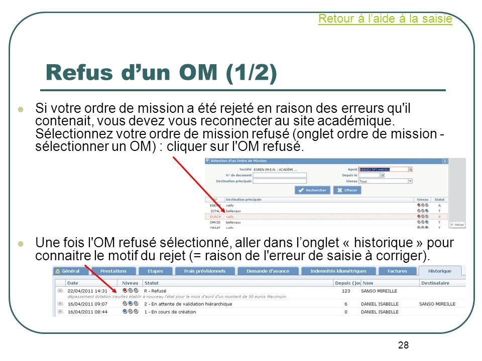 28 Refus dun OM (1/2) Si votre ordre de mission a été rejeté en raison des erreurs qu'il contenait, vous devez vous reconnecter au site académique. Sé